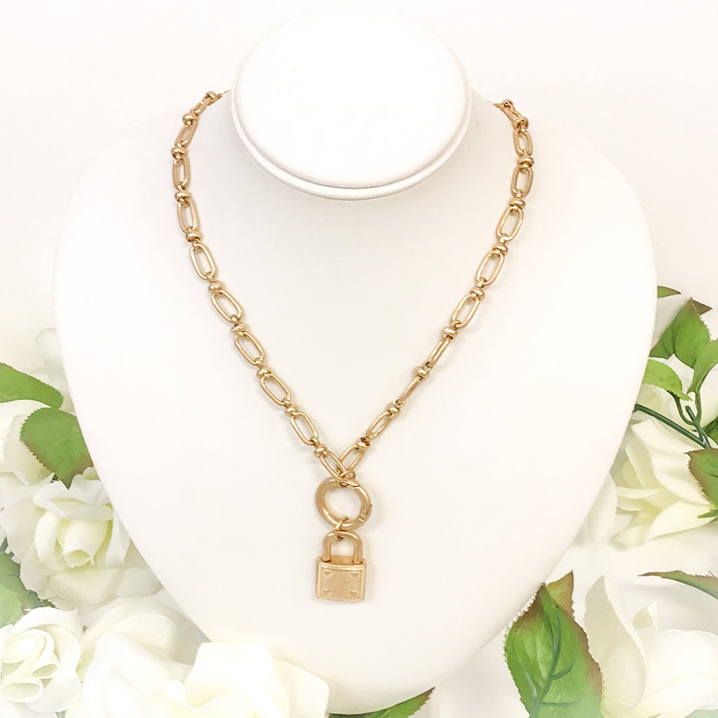 Gold Padlock Necklace