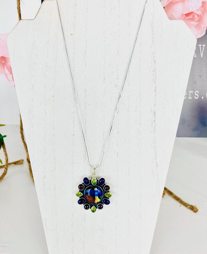 Dichroic Exotic Sterling Silver Necklace