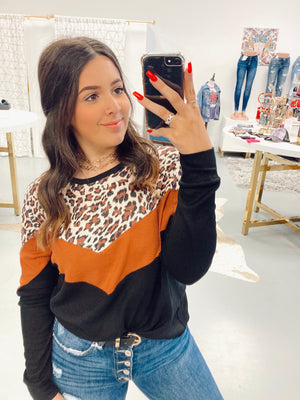 Pumpkin Leopard Chevron Long Sleeve