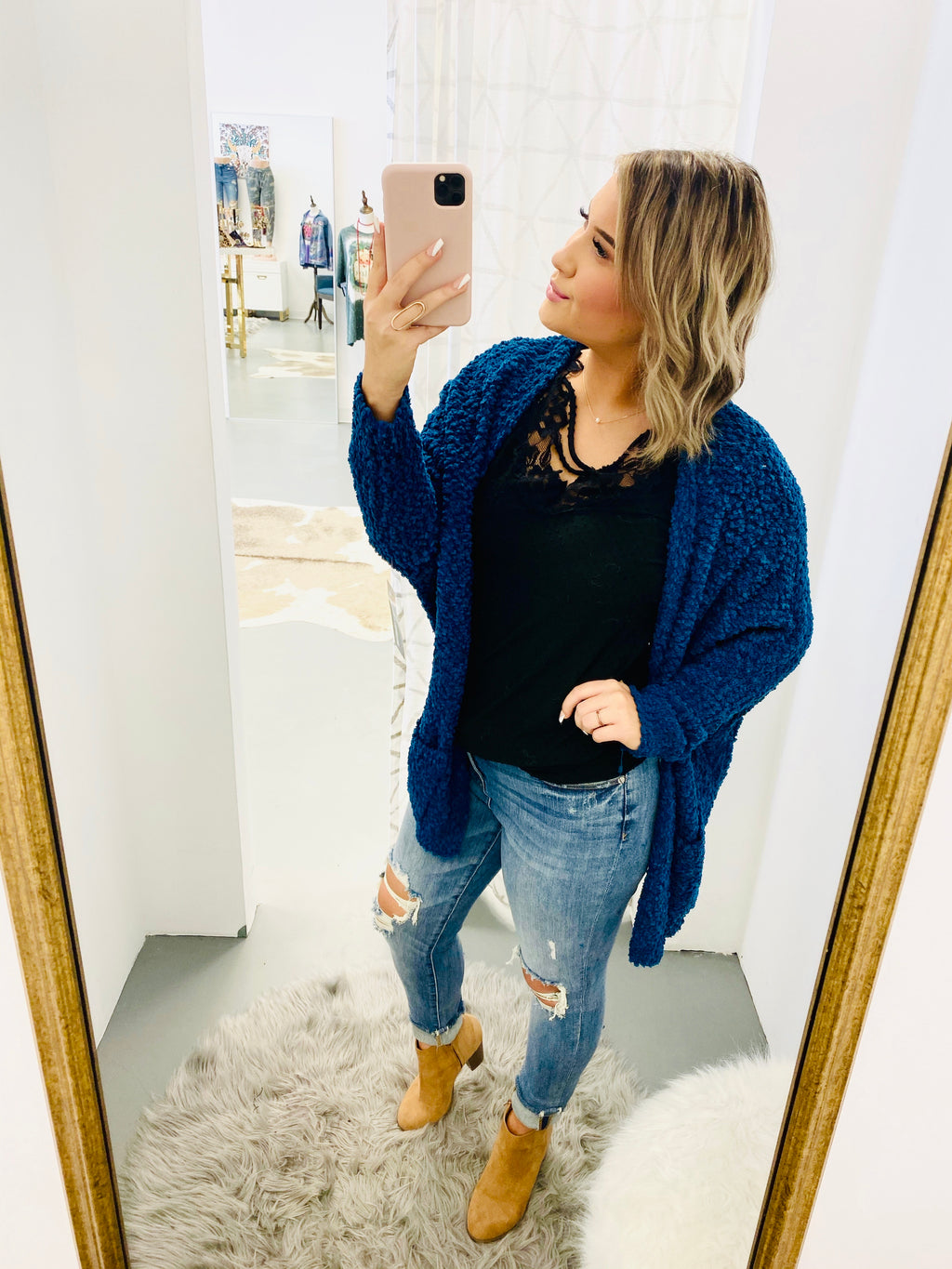 Peacock Oversized Pocket Popcorn Cardigan