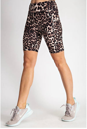 Leopard Wide Band Biker Shorts With Cellphone Pocket