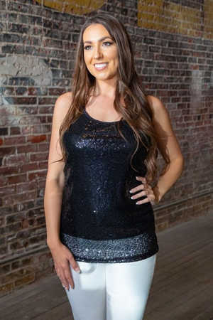 L&B Black Sequin Tank