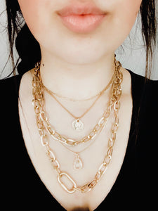 Multiple Chain Crystal Drop Necklace