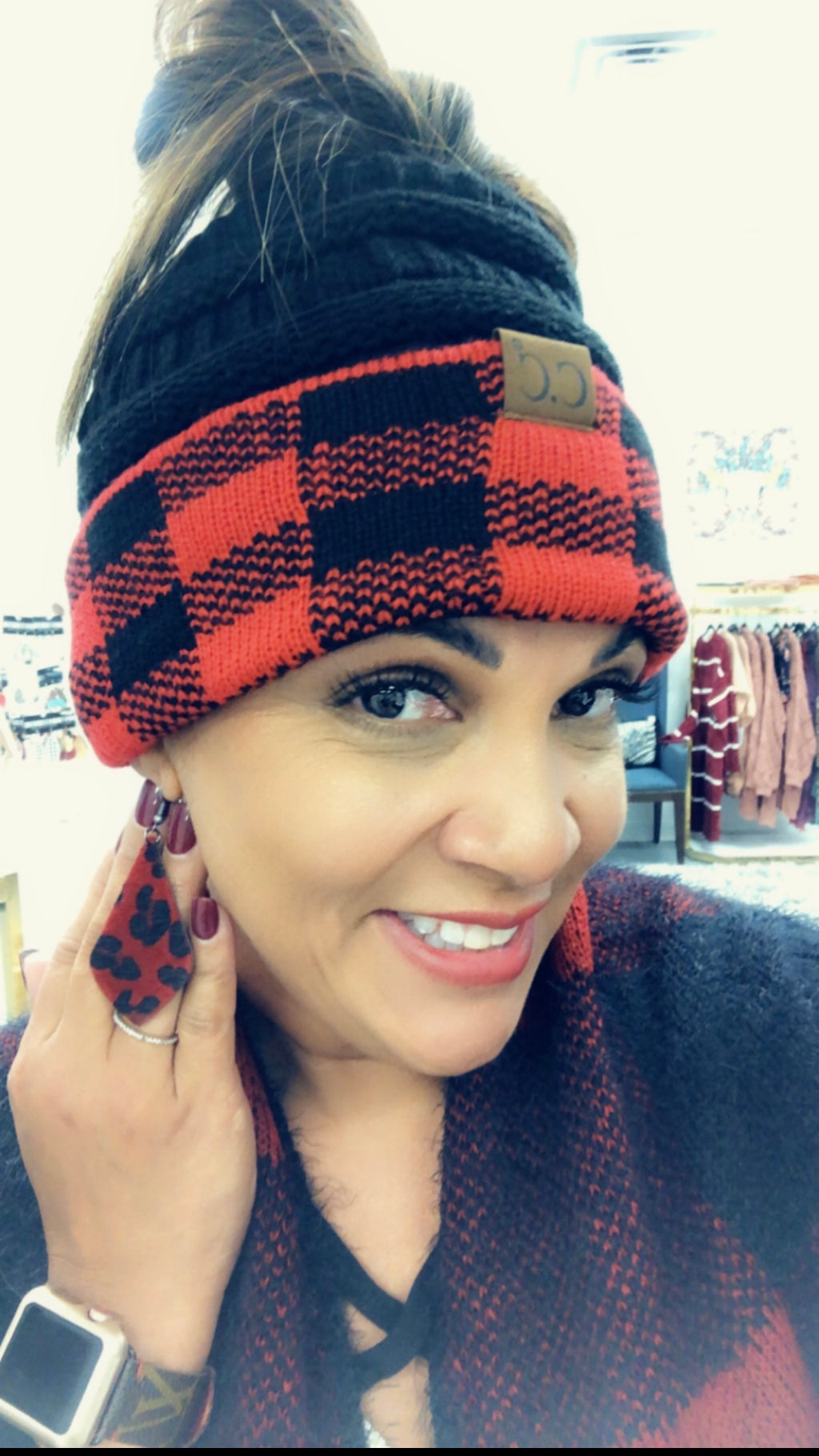 CC Buffalo Plaid Messy Bun Beanie-Red