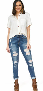 Lace Patch Midrise Jeans