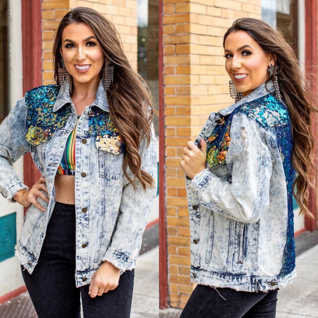 Blue Mermaid Denim Sequin Jacket