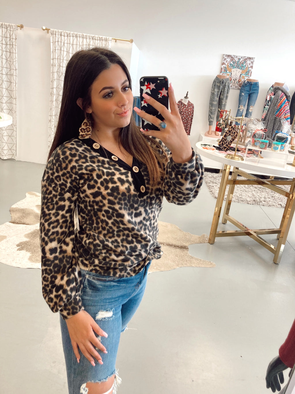 The Leopard Henley Top