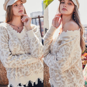 Fawn Leopard Frayed Sweater
