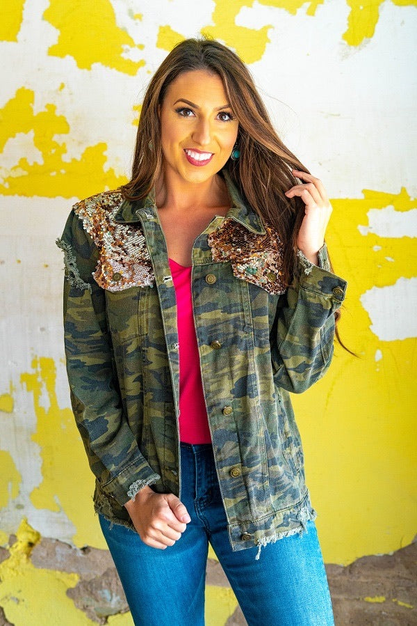 Camo Rose Gold Sequin Jacket