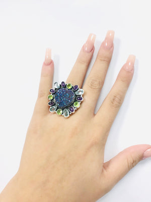 Mystic Midnight Druzy Sterling Adjustable One Size Ring