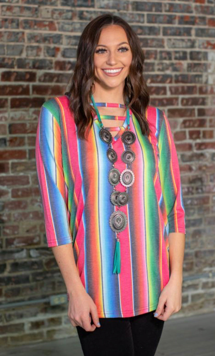 Serape My Way Ladder Blouse