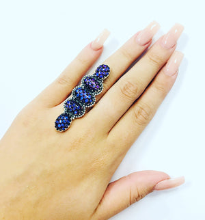 Queen Exotic Dichroic Adjustable Sterling Ring