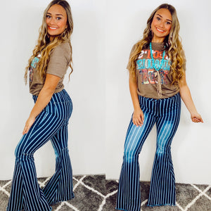 Walk The Line Striped Bell Bottom Jeans
