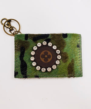 Camo Hair On Hide Genuine Leather Upcycled LV Key Chain Wallet