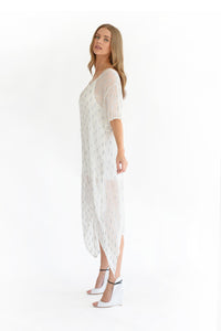 Muche et Muchette White and Silver Lurex dress, - Funky Collective