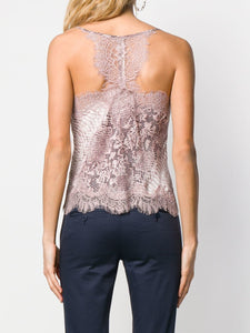 Gold Hawk Racerback Lace Silk Cropped Cami, - Funky Collective