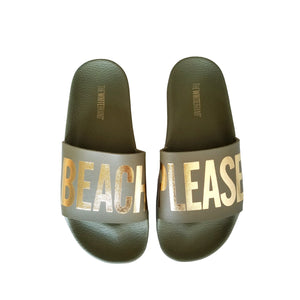 Kids Beach Please Slides in Army Green, - Funky Collective