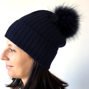 Cashmere Knit Hat with Genuine Fur Pom, - Funky Collective