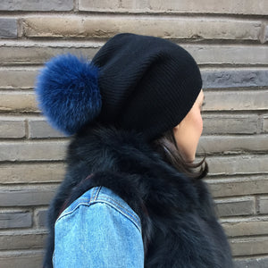 Cashmere Slouchy with Fur Pom, - Funky Collective