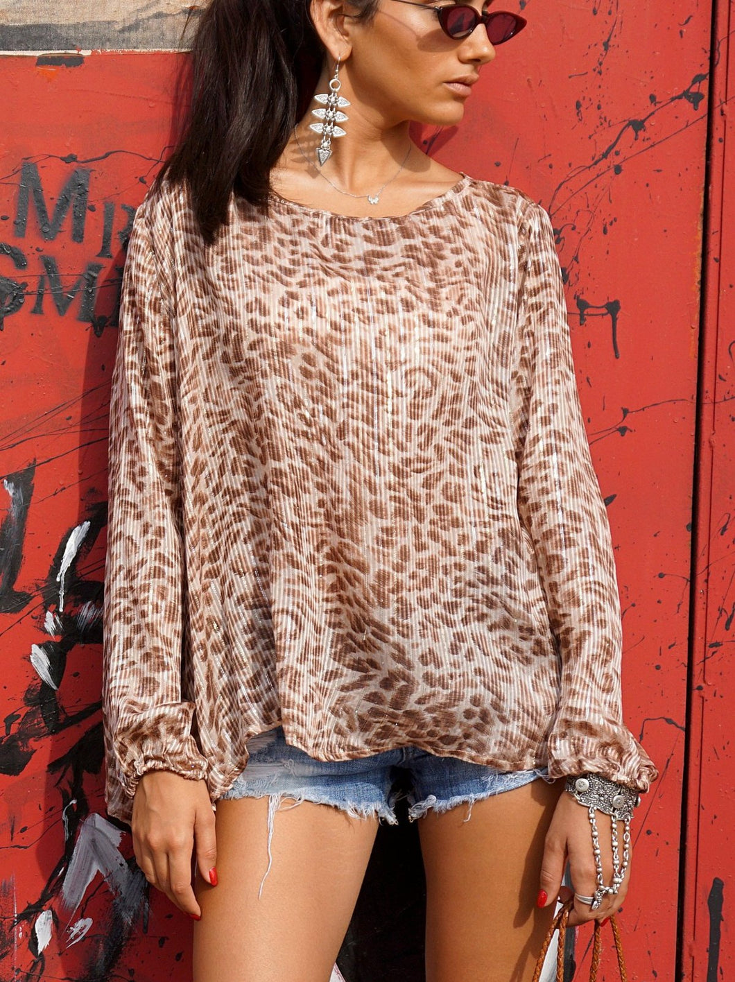 Leopard Lurex Top, - Funky Collective