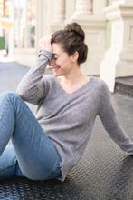 Florence Distressed V Neck Cashmere Sweater, - Funky Collective