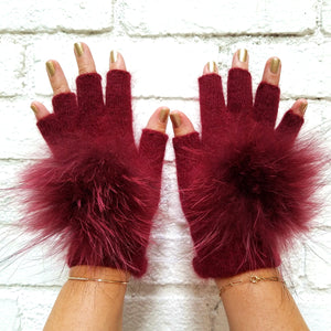 Fingerless Angora Gloves with Fur Pom, - Funky Collective