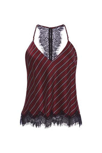 Striped Racerback Cami - Burgundy, - Funky Collective