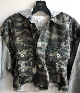 Cropped  Camo Jacket with Hoodie, - Funky Collective