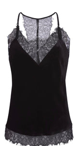 Velvet Cropped Cami in Black, - Funky Collective