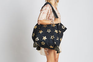 Z & L Metallic Star Tote Black, - Funky Collective