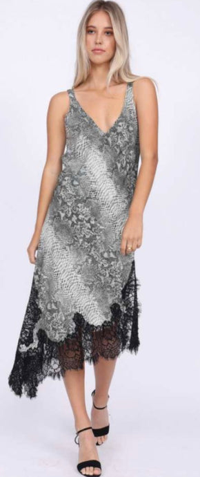 Gold Hawk Grey Silk Python Slip Dress, - Funky Collective