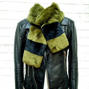 Sheared Rabbit Striped Scarf, - Funky Collective