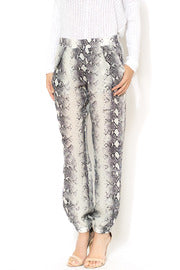 Gold Hawk Python Print Grey Jogger Pants, - Funky Collective