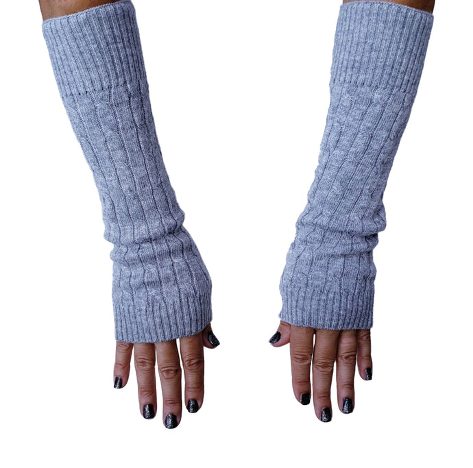 Funky Collective Cableknit Cashmere Arm Warmers, - Funky Collective