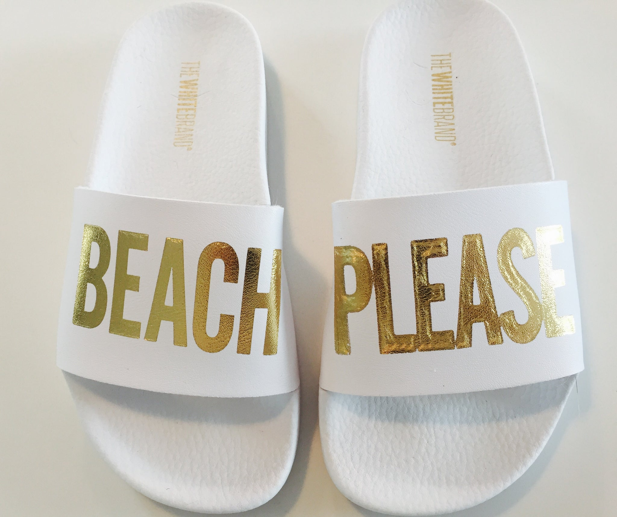 e5bd17059 Kids Beach Please Slides in White – Funky Collective