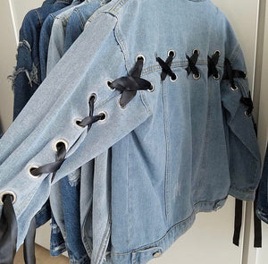 Denim Jacket with Black Ribbon Sleeve