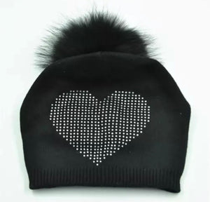 Knitted Beanie Hat with Fur Pom