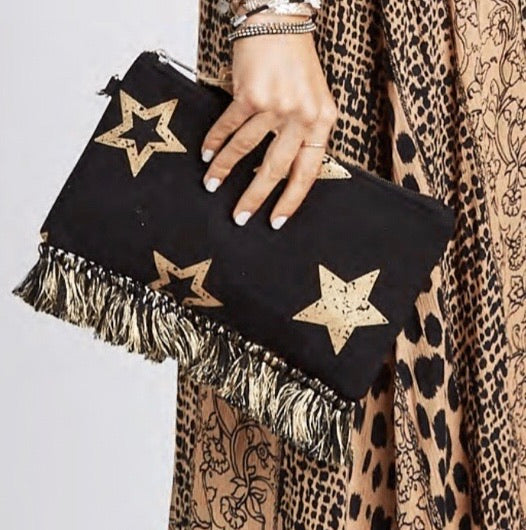 Z & L Metallic Star Clutch - Black, - Funky Collective