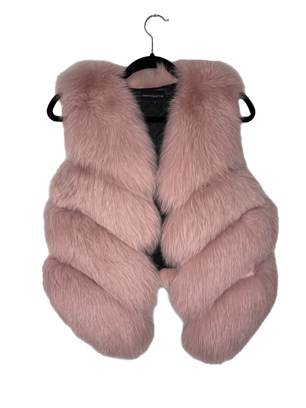 Funky Collective Fox Fur Vest- Dusty Rose