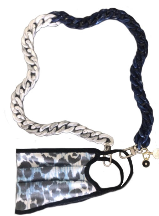 Denim Cheetah Mask with Acrylic Chain Set