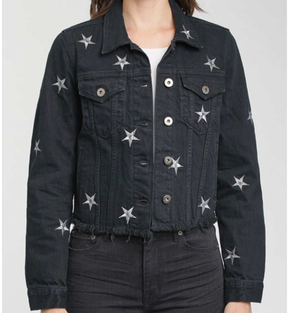 Pistola Denim Brando Cropped Zodiac Jacket in Black, - Funky Collective