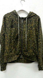 Distressed Leopard Zip Up Sweatshirt, - Funky Collective