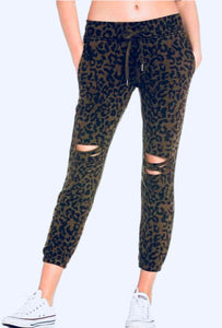 Distressed Leopard Sweat Pants, - Funky Collective
