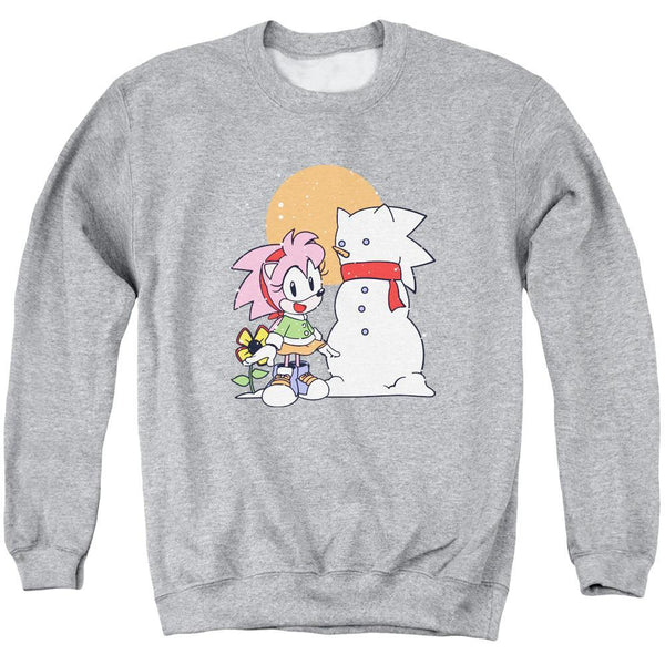 Amy Snowman Winter Athletic Heather Crewneck Sweatshirt