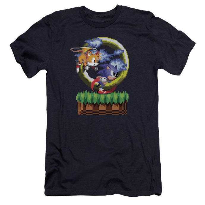 Sonic and Tails Navy Pixel T-Shirt