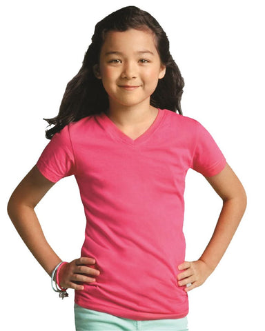 Girls' V-Neck Fine Jersey T-Shirt