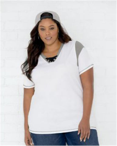 Women's Curvy Lace Up Fine Jersey Tee