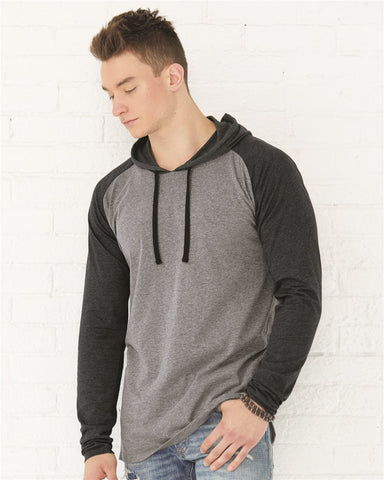 Fine Jersey Long Sleeve Hooded Raglan T-Shirt