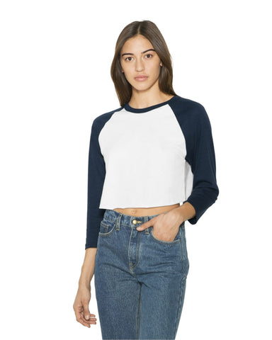 Women's Poly-Cotton 3/4 Sleeve Cropped T-Shirt