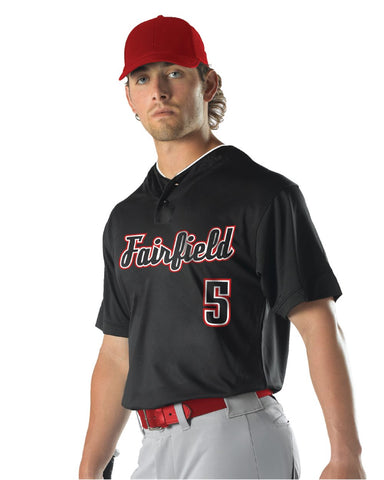 Youth Two Button Mesh Baseball Jersey With Piping